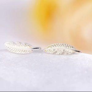 Sterling Silver 925 Feather Stud Earrings